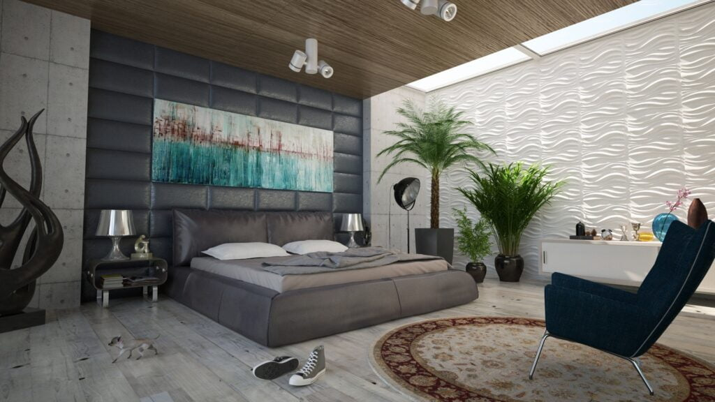 bedroom with acoustic wallpaper