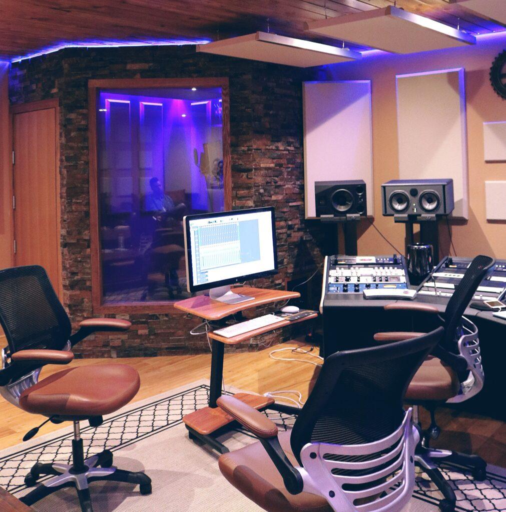 Foam panel installation in a recording studio