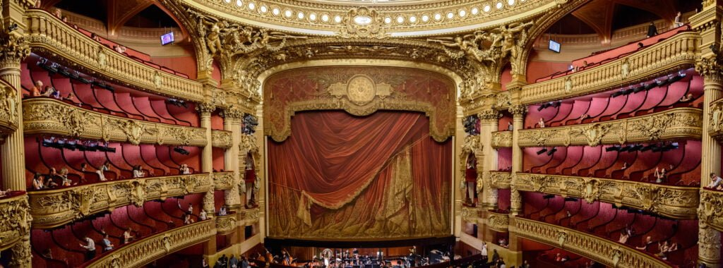 Opera house with acoustic fabric