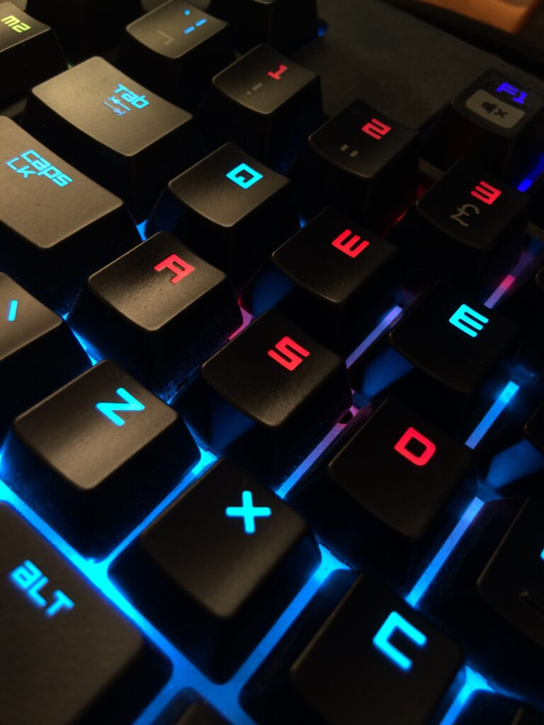 multicolor backlighting on a silent gaming keyboard