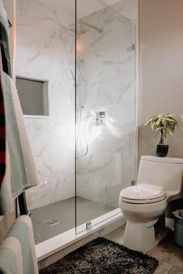 toilet gurgles when flushed in shower